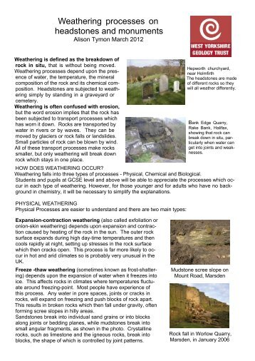 Teaching weathering in West Yorkshire