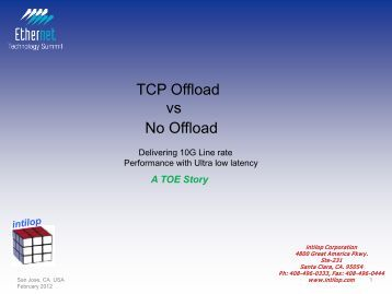 TCP Offload vs No Offload - Ethernet Technology Summit