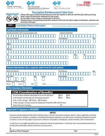 CFE Prescription Drug Reimbursement Form - Premera Blue Cross