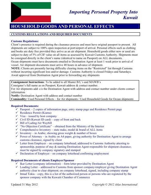 Importing Personal Property Into Kuwait - Atlas International