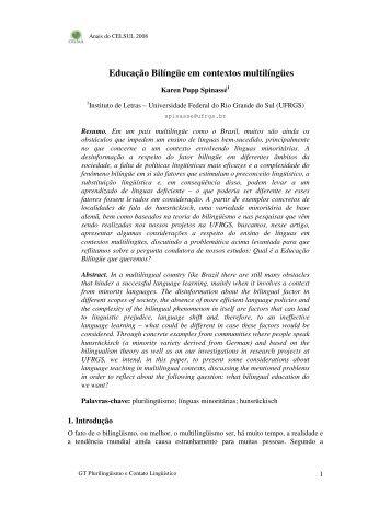 Educação Bilíngüe em contextos multilíngües - Celsul.org.br