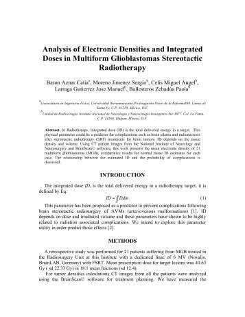 Analysis of Electronic Densities and Integrated Doses in ... - fismat uia