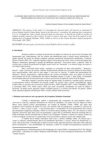 o gênero discursivo entrevista de emprego ea ... - Celsul.org.br