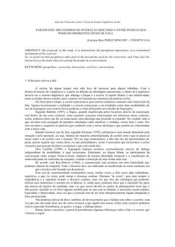 paráfrases: mecanismos de interação discursiva ... - Celsul.org.br