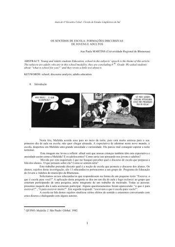 OS SENTIDOS DE ESCOLA: FORMAÇÕES ... - Celsul.org.br