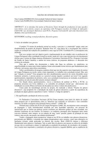 NOÇÕES DE GÊNERO DISCURSIVO Nara Caetano ... - Celsul.org.br