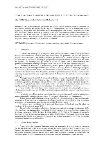 Léxico, ideologia e a historiografia lingüística do ... - Celsul.org.br