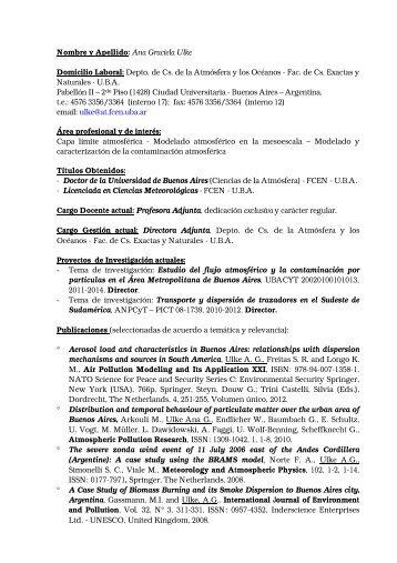 ULKE, Ana Graciela - Departamento de Ciencias de la Atmosfera y ...