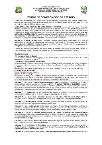 TERMO DE COMPROMISSO DE ESTÁGIO - UNEMAT