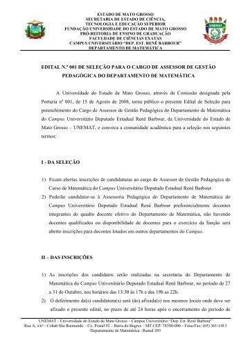 EDITAL N.º 001 DE SELEÇÃO PARA O CARGO DE ... - UNEMAT