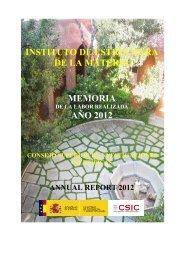 INSTITUTO DE ESTRUCTURA DE LA MATERIA MEMORIA AÑO 2012