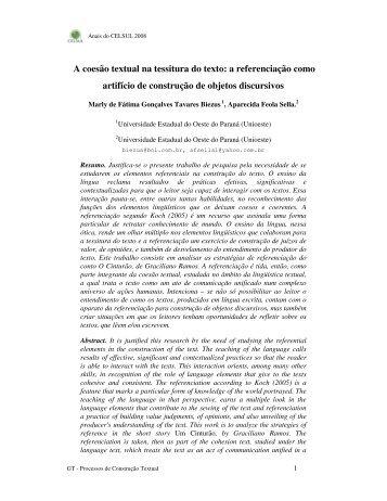 A coesão textual na tessitura do texto: a ... - Celsul.org.br