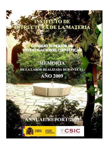 memoria de 2009 - Instituto de Estructura de la Materia - Consejo ...