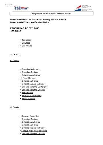 Programas de Estudios - Escolar Básica