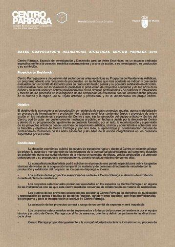 BASES CONVOCATORIA RESIDENCIAS ... - Centro Parraga
