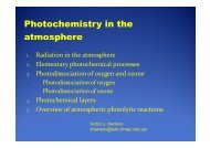 Photochemistry in the atmosphere