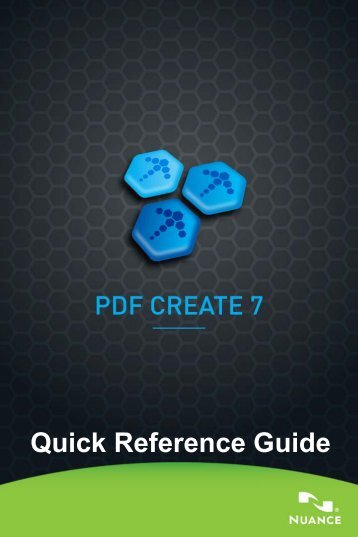 PDF Create 7 Quick Reference Guide - Support - Nuance