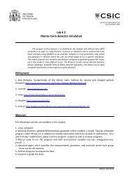 Lab 2 Monte Carlo Simulations - GEANT4 - Instituto de Estructura de ...