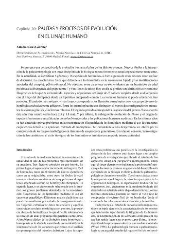 Pautas y procesos de evolución en el linaje humano