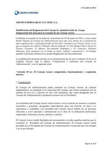 Reforma del Reglamento del Consejo para la ... - Grupo San José