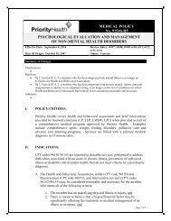 Psychological Evaluation and Management of Non ... - Priority Health