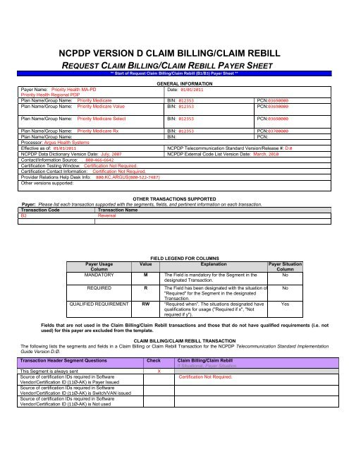 NCPDP VERSION D CLAIM BILLING/CLAIM REBILL - Priority Health