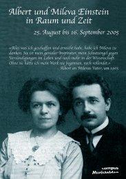 Albert und Mileva Einstein in Raum und Zeit 25. August bis 16. ...