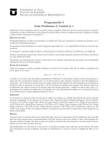 Programación I Gu´ıa Problemas 3, Unidad # 1 - Facultad de ...