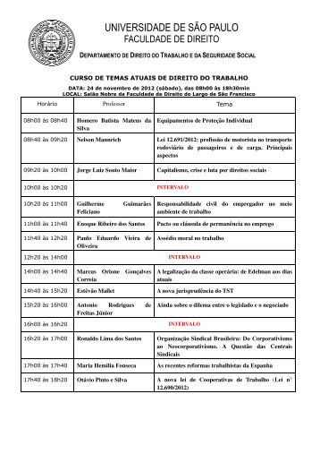 Programa - Faculdade de Direito - Universidade de São Paulo - USP