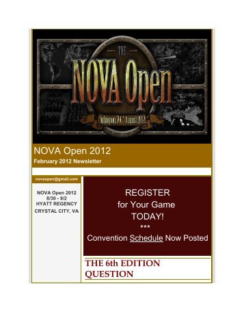 NOVA Open January 2012 Newsletter