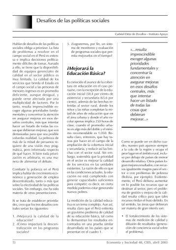 Desafíos de las políticas sociales - Gestiopolis
