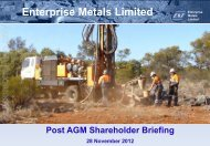 AGM Presentation November 2012 - Enterprise Metals