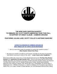 the new gary burton quartet to embark on 12-city ... - DL Media Music