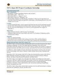 NOVA Open 2013 Project Coordinator Internship