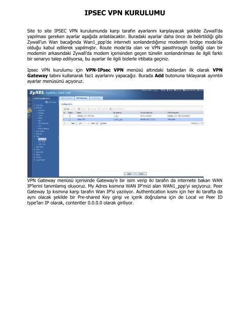 USG Serisi Firewall Cihazlarda IPSEC VPN Kurulumu (TR)