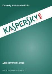 Kaspersky Administration Kit 8.0 ADMINISTRATOR'S GUIDE