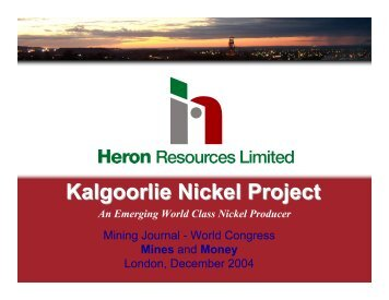 Mines and Money World Congress presentation - Heron Resources ...