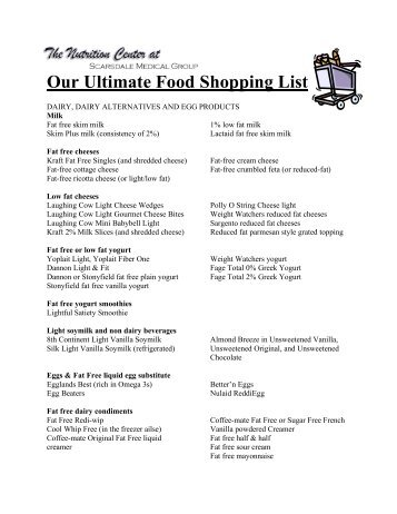 Our Ultimate Food Shopping List - Scarsdale Medical Group