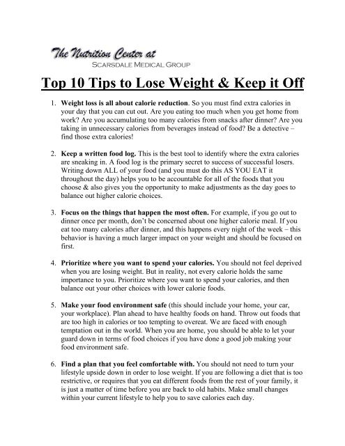 Top 10 things to lose weight