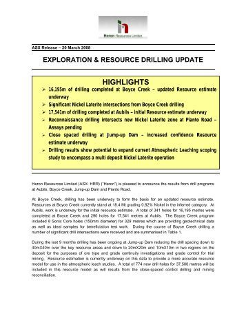 Exploration and Resource Drilling Update - Heron Resources Limited