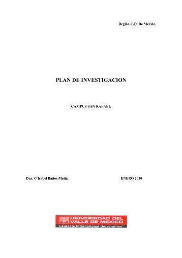 PLAN DE INVESTIGACION - Campus Tlalpan