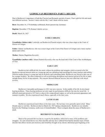 LUDWIG VAN BEETHOVEN: PART 1: HIS LIFE