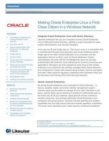 Making Oracle Enterprise Linux a First- Class Citizen ... - Purple Rage