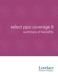 Select Coverage II PPO 2500 - Lovelace Health Plan