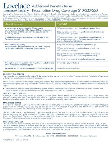 Additional Benefits Rider Prescription Drug Coverage $10/$30/$50