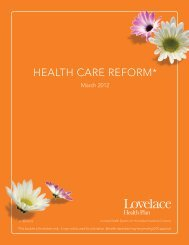 health care reform* - Lovelace Health Plan