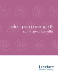 Select Coverage III PPO 5000 - Lovelace Health Plan