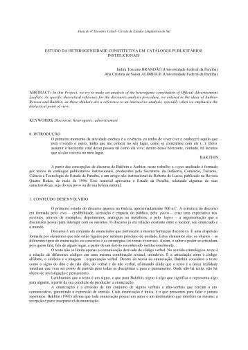 estudo da heterogeneidade constitutiva em catálogos ... - Celsul.org.br