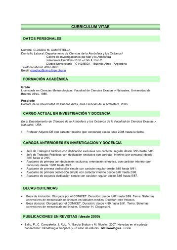 curriculum vitae - Departamento de Ciencias de la Atmosfera y los ...