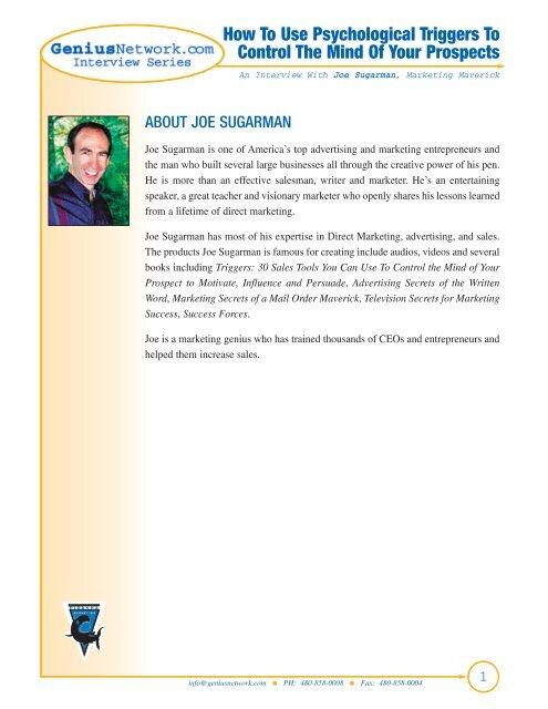 Joe Sugarman Pdf The Genius Network